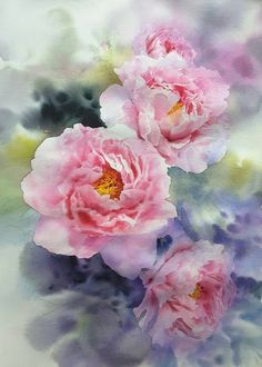 Super ideas for flower art abstract beautiful Watercolor Artists, Artist Painting, Watercolour Painting, Watercolor Flowers, Painting Abstract, Art Floral, Botanical Art, Flower Wall, Abstract Landscape