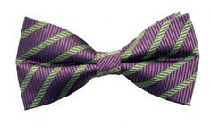 100% Silk Handmade Pre-Tied Bow Tie - Purple with Green Diagonal Stripe - Purple bow ties  - very popular currently