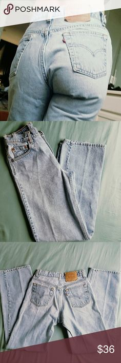 Vintage Levi's Mom Jeans! Perfectly distressed vintage denim mom jeans.  High waist and light wash.    Measurements laying flat: 14 1/2 inches across the waist, meaning a 29 inch waist around (measure at or below your belly button) 32 inch inseam  10 inch rise   Tags Grunge goth pastel vintage retro high waist stonewash dark alternative hipster hippie mom jeans wedgie pants boyfriend fit 90's 1990 Levi's Jeans
