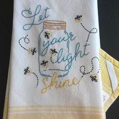 Mason jar lightening bugs tea towel, fireflies tea towel, mason jar kitchen…