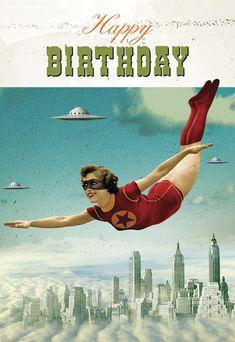 Birthday Supergirl Postcard by Max Hernn