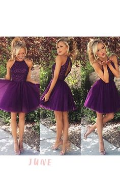 Elegant Purple Beadings High Neck Homecoming Dress Short https://www.junebridals.com/elegant-purple-beadings-high-neck-homecoming-dress-short-p319302.html