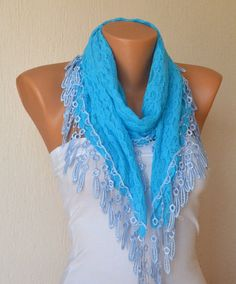 Turquoise lace scarf winter scarf gift for her birthday by bstyle, $20.00