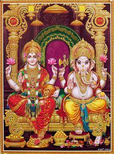 Lakshmi and Ganesha - Glitter Poster (Glitter Poster - Unframed) Shiva Images Hd, Durga Images, Lakshmi Images, Ganesh Images, Lord Krishna Images, Shiva Art, Ganesha Art, Hindu Art, Lakshmi Statue