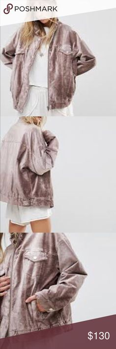 Free people velvet jacket Free people velvet jacket in a stunning mauve color . Very warm . Oversized but not ridiculously. Can wear a decent sweater underneath. Brand new. Never worn. Free People Jackets & Coats