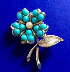 SARAHCOV Brooch Signed Pin Gold Tone Flower Faux Turquoise Pearl Vintage Jewelry #SarahCoventry