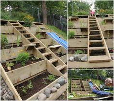 Gartentreppe Selber Bauen – 35 Inspirationen Garden stairs made of wood with loft bed for plants to Hillside Garden, Terrace Garden, Steep Gardens, Landscape Design, Garden Design, Landscaping A Slope, Sloped Yard, Backyard Renovations, Garden Stairs