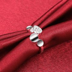 Fashion popular Silver Plated Heart Cubic Zirconia Ring for Women SPR937 2