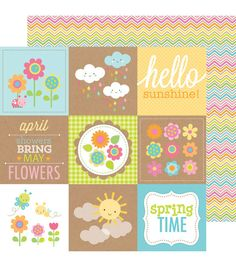"Hello Sunshine Double-Sided Cardstock 12""X12""-Rainbow Chevron"