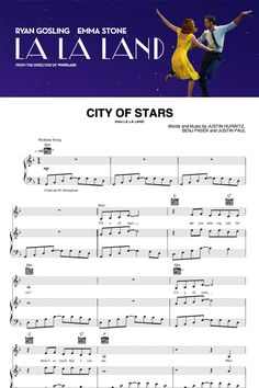 "Instantly download the sheet music for ""City of Stars"" from the new hit movie ""La La Land."""