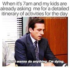 """19 Memes About """"The Office"""" That Are Too Damn Funny If You Have Kids - Parenting humor - Funny Mom Memes, Funny Memes About Life, Funny Fails, Funny Texts, Funny Quotes, Hilarious, Funny Stuff, Memes For Moms, Funny Things"""
