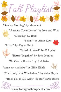 To me, fall is all about relaxing and being warm and cozy, so why not make a fall playlist that captures those feelings? Maybe it's just the nostalgia attached to music from the but my fall… Fall Playlist, Song Playlist, Party Music Playlist, Music Mood, Mood Songs, Herbst Bucket List, Autumn Aesthetic, Autumn Cozy, Happy Fall Y'all