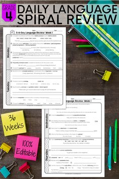 This 4th grade daily spiral review is one of the easiest ways to make sure you are covering all the important grammar and vocabulary standards that your students need to know. This resource can be used as MORNING WORK, HOMEWORK, or as a CENTER ACTIVITY. With this spiral review, you will easily be able to PREVIEW and REVIEW all year long! Teaching Vocabulary, Teaching Grammar, Grammar And Vocabulary, Teaching Resources, Teaching Ideas, Teaching Materials, 4th Grade Writing, Fourth Grade, Spiral Math