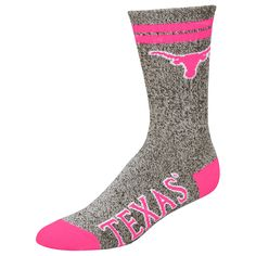 Texas Longhorns Women's Marble Medium 504 Socks – Gray/Pink