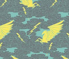Pegasus and the Tempest fabric by ceanirminger on Spoonflower - custom fabric