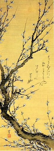 The oak tree: / not interested /    in cherry blossoms ~ Matsuo Basho    pic: Flowering plum by Hokusai