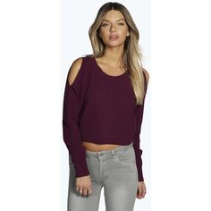 Boohoo Sofie Cut Out Shoulder Crop Jumper (22 CAD) ❤ liked on Polyvore featuring tops, sweaters, plum, cold shoulder tops, lightweight sweaters, jumpers sweaters, open shoulder top and purple top