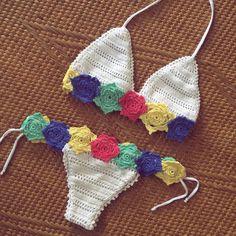 Crochet Shorts, Crochet Crop Top, Crochet Clothes, Crochet Bikini, Crochet Girls, Crochet For Kids, Crochet Baby, Knit Crochet, Baby Girl Swimwear