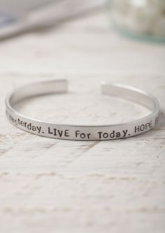LEARN From Yesterday. LIVE For Today. HOPE For Tomorrow - Hand Stamped Aluminium Cuff Bracelet - Lime Lace
