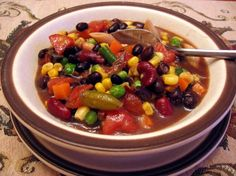 """5 can soup - just made this for dinner, but made it """"6 can soup"""" and added a can of white meat chicken - I'm set for lunch and snacks for most of the week!"""