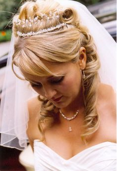 Glitter Crystal Wedding Tiara, 2014 Wedding Hairstyles With Tiara #2014 #wedding #hairstyle #tiara www.loveitsomuch.com