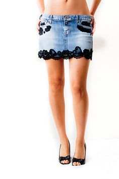 Add lace to lengthen a mini skirt that has frayed itself into a MICRO-mini...
