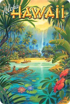Hawaiian Vintage Postcard - Visit Hawaii - Kerne Erickson #VisitHawaii