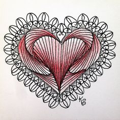 my first tile (no. a My friend also threw down the gauntlet for me to use paradox in a heart and this was the result. I used for the coloring. Heart Doodle, Doodle Art, Doodle Patterns, Zentangle Patterns, Pen Doodles, Creative Lettering, Mandala Coloring, Red Accents, Heart Art