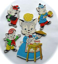 Vintage nursery wall art: The Three Little Kittens