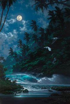 HD Print oil painting on Canvas Art Deco,Hawaiian Seascape Stardust Beautiful Moon, Beautiful Places, Beautiful Scenery, Hawaii Painting, Surfing Painting, Bastet, Landscape Photography, Nature Photography, Aesthetic Photography Nature