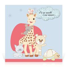 Faire-part naissance Sophie la girafe Mes amis - Cardissime - C'est entourée de tous ces amis que Sophie la girafe a l'extrême plaisir d'annoncer la naissance de votre bébé.