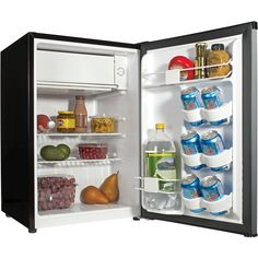 Small Mini Dorm Room Size Refrigerator This Haier 2.7 cubic foot Refrigerator features a space-saving design with a spacious interior. It includes a full-width freezer compartment with ice cube tray a