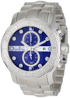 Men's Wrist Watches - Invicta Mens 0879 Pro Diver Chronograph Blue Textured Dial Stainless Steel Watch *** Want additional info? Click on the image.