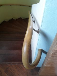 Industrial hose used as handrail, at Wooden Duck Furniture in Berkeley California.
