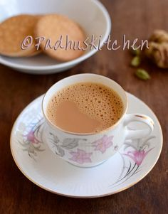 Ginger Cardamom Tea Recipe-Adrak Chai-How to make Ginger tea - Padhuskitchen Cardamom Tea Recipe, Chai Recipe, Masala Recipe, Tea Recipes, Coffee Recipes, Indian Food Recipes, Sweets Recipes, Vegetarian Recipes, Ginger Tea