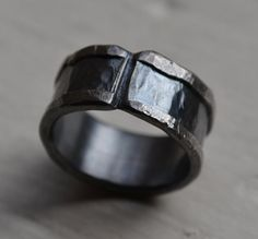 mens wedding band  rustic silver ring  by gabriellemaggidesign, $175.00
