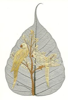'Ancient & Endangered Leaf art PARROTS' is going up for auction at 11am Thu, Jun 21 with a starting bid of $5.