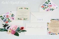 Floral invites for a baby shower party! See more party planning ideas at CatchMyParty.com!