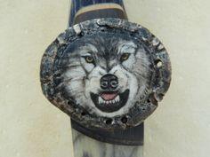 scrimshaw von Gele Schloetmann, wolf auf Bogen von Thomas Scholl