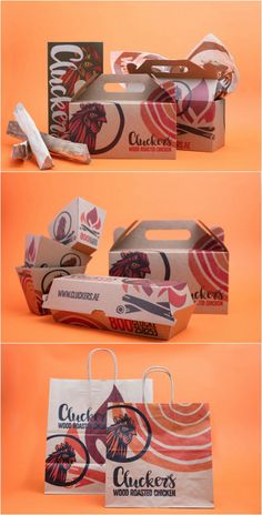- Clucker's Wood Roasted Chicken - World Brand Design Society Burger Packaging, Takeaway Packaging, Food Packaging Design, Packaging Design Inspiration, Chicken Brands, Chicken Logo, Chicken Shop, Food Branding, Restaurant Branding
