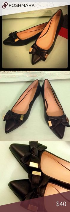 Top Shop Flats Super Cute Black Pointy Flats, Really Comfortable. With A Bow In The Front And Golden Statements. NEVER WORN! NEW! NWOT! Topshop Shoes Flats & Loafers
