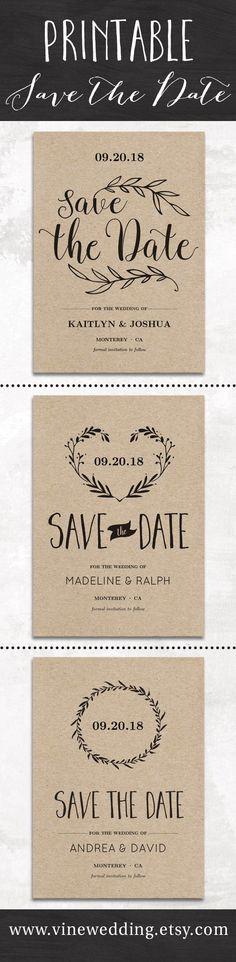 Printable save the date cards from www.vinewedding.etsy.com  #vinewedding #wedding