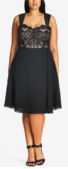 Plus Size Lace Fit & Flare Dress