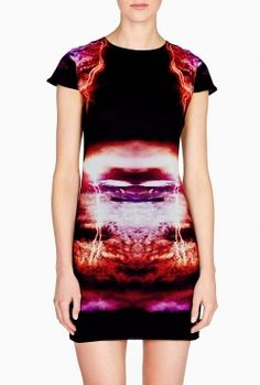 Lightning Cap Sleeve Silk Dress by McQ
