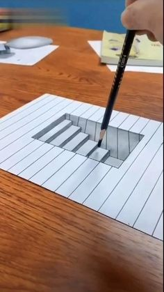 Exploring Hyperrealism Drawing and Painting Techniques – Zeichnung 3d Art Drawing, Art Drawings Sketches Simple, Pencil Art Drawings, Easy Drawings, Realistic Drawings, Stairs 3d Drawing, 3d Pencil Art, Easy 3d Drawing, Geometric Drawing