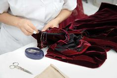#Valentino show exclusive for #Shanghai boutique in november 2013 for 2014. Making of a red velvet dress.