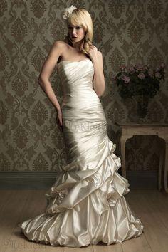 Ärmellos Gerüscht Empire Tailleline Etui Column Meerjungfrau Brautkleid - Bild 1
