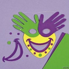 Mardi Gras Face - so gonna do this either Friday or next Wednesday :). or next month or next Halloween or Mardi Gras or next year or Tuesday. Toddler Crafts, Preschool Crafts, Fun Crafts, Crafts For Kids, Paper Crafts, Carnival Crafts, Carnival Masks, Mardi Gras Activities, Activities For Kids