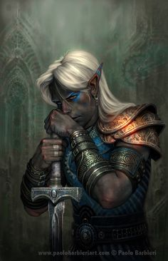 Dark Elf - realistic skintone, bright armor, inspiring. Dark Elf Warrior with Two Handed Sword by Paolo Barbieri