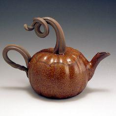 Handmade, Stoneware, Pottery, John Bauman, Pumpkin Teapot on Etsy, $68.00